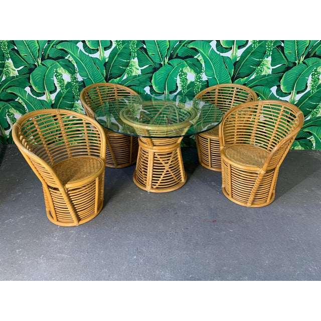 Horizontal Rattan Albini Style Barrel Dining Chairs - Set of 4 For Sale In Jacksonville, FL - Image 6 of 7