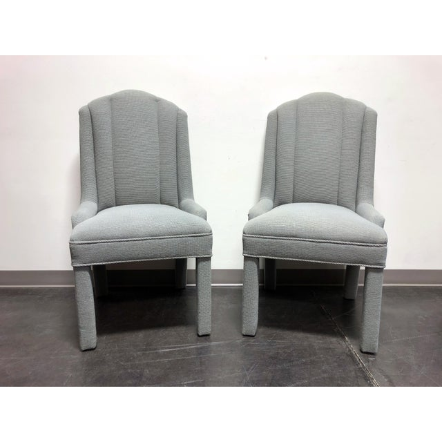 High-End Grey Channel Back Parsons Chairs - Pair 3 For Sale - Image 11 of 12