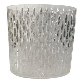 Textured Oval Lucite Acrylic Waste Basket Vintage Mid Century For Sale