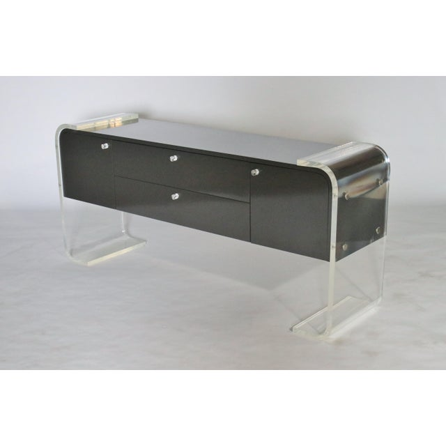 Lucite and Lacquered Wood Sideboard For Sale - Image 9 of 9