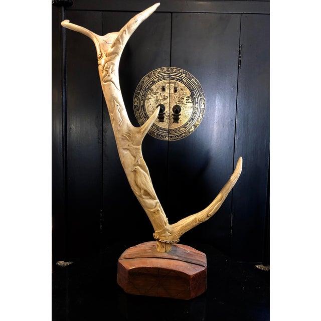 Hand Carved Antler on Wooden Base For Sale - Image 11 of 11