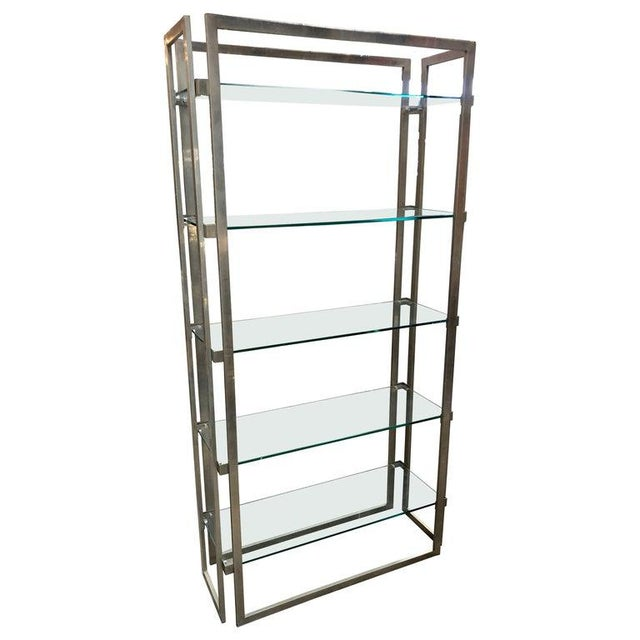 Transparent Willy Rizzo Vintage Chrome Bookcase, Italy, 1970s For Sale - Image 8 of 8