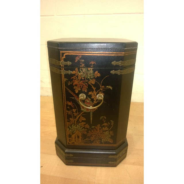 Asian Motif Painted Wood Umbrella Stand - Image 2 of 10