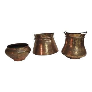 Vintage Indian Polished Copper Decorative Vessels - Set of 3 For Sale