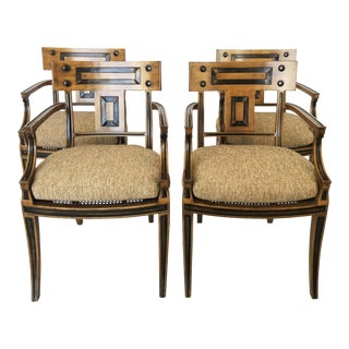 Set of Four Klismos Inspired Armchairs by Michael Taylor For Sale