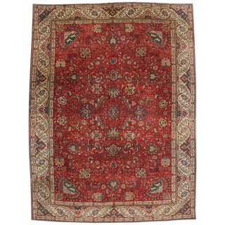 Vintage Persian Tabriz with Traditional Style For Sale