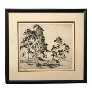 1929 Vintage Alfred Hutty English Pines Etching Print For Sale
