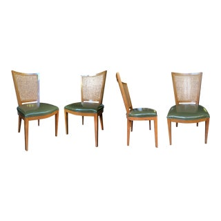 Baker Beech and Faux Leather Chairs With Caning - a Set of 4 For Sale
