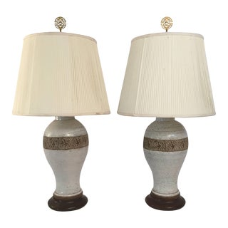 Pair of Ugo Zaccagnini Italian Pottery Lamps For Sale
