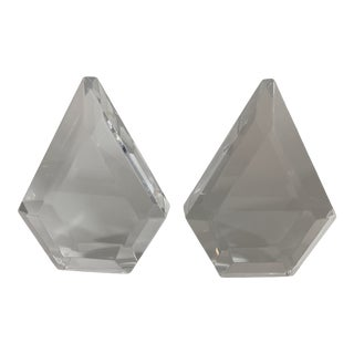 Lucite Faceted Sculpture Bookends Pair For Sale