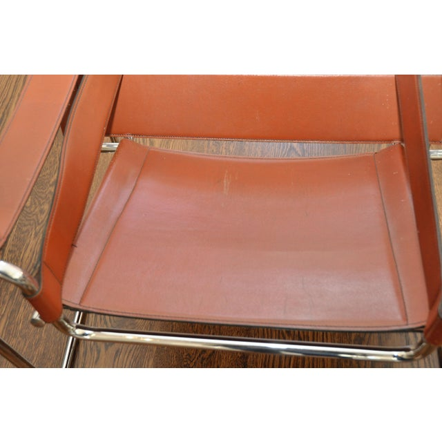 Reproduction Mid-Century Wassily Leather & Chrome Chairs - Pair - Image 3 of 9