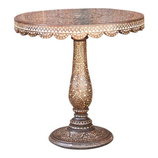 Damascene Inlay Round Table For Sale