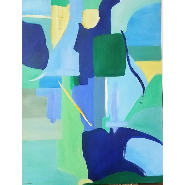 """""""Green Door"""" is an abstract painting, one of a series of doors, by Christine Frisbee, a New York artist. The greens, blues..."""