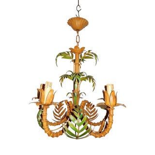 1950 French Tole Palm Tree Five-Light Chandelier For Sale