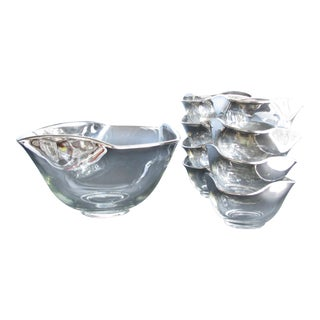 Mid 20th Century Dorothy Thorpe Style Mercury Fade Ombre Glass Serving Bowls - 9 Pieces For Sale
