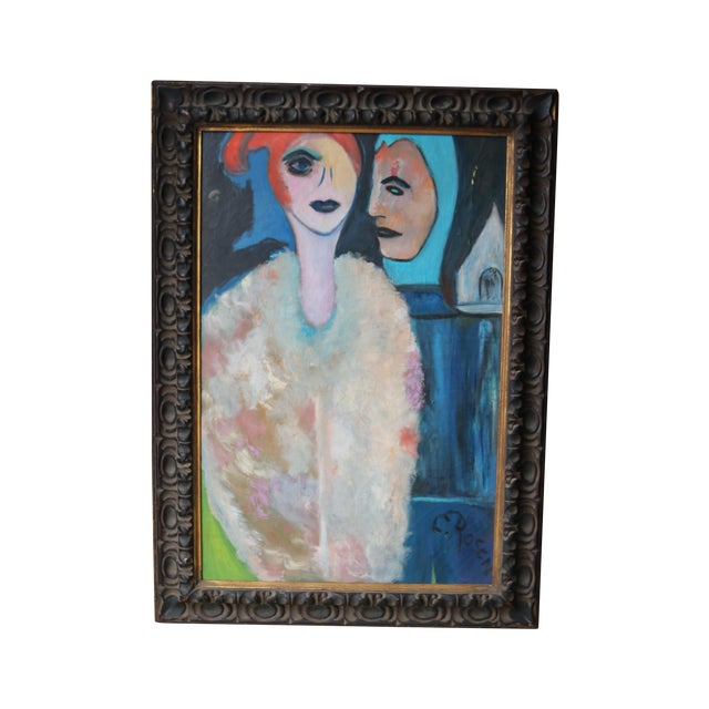 1960's Oil on Canvas Portrait Painting by Eb Rosen - Image 1 of 8