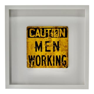 Vintage Men Working Sign Framed For Sale