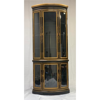 Drexel Black & Gold Chinoiserie Painted Corner Curio Cabinet Preview