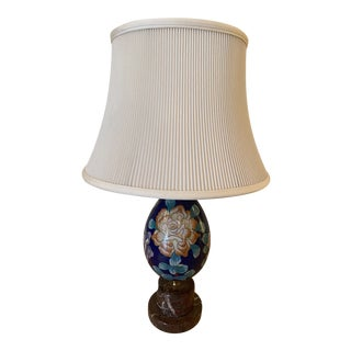 Late 20th Century Vintage Cloisonné Egg Lamp and Shade For Sale