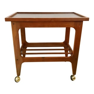 Mid-Century Modern Teak Wood Cart Side Table For Sale