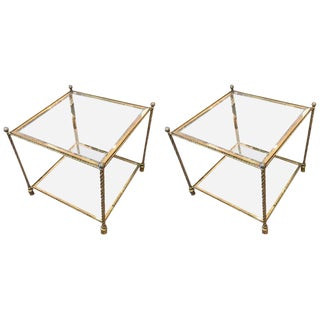 Pair of Brass and Glass Two-Tiered End Tables Attributed to Maison Jansen For Sale