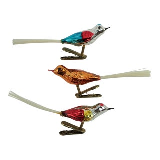 Vintage Blown Glass Clip Bird Ornaments - Set of 3 For Sale