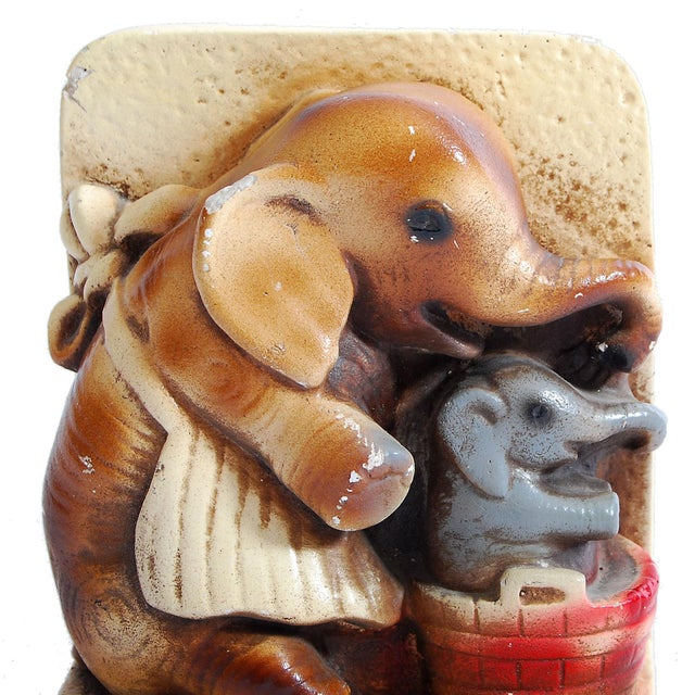 1944 Pd & Co Chalkware Elephant Bookends - Pair - Image 5 of 5