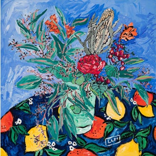 Banksia and Eucalyptus Bouquet on Blue With Citrus Detail Square Still Life Painting by Lara Meintjes For Sale