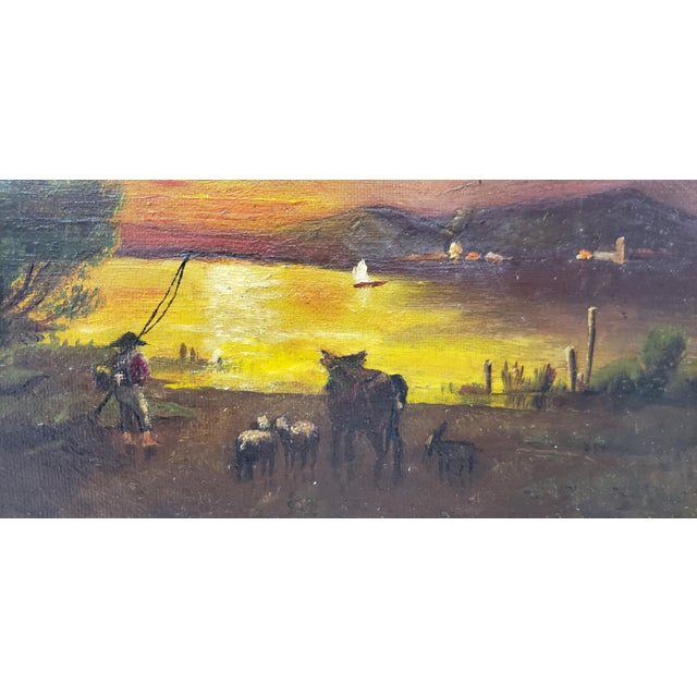 19th Century Luminous Sunset Over Mountain Lake Oil Painting For Sale - Image 4 of 10