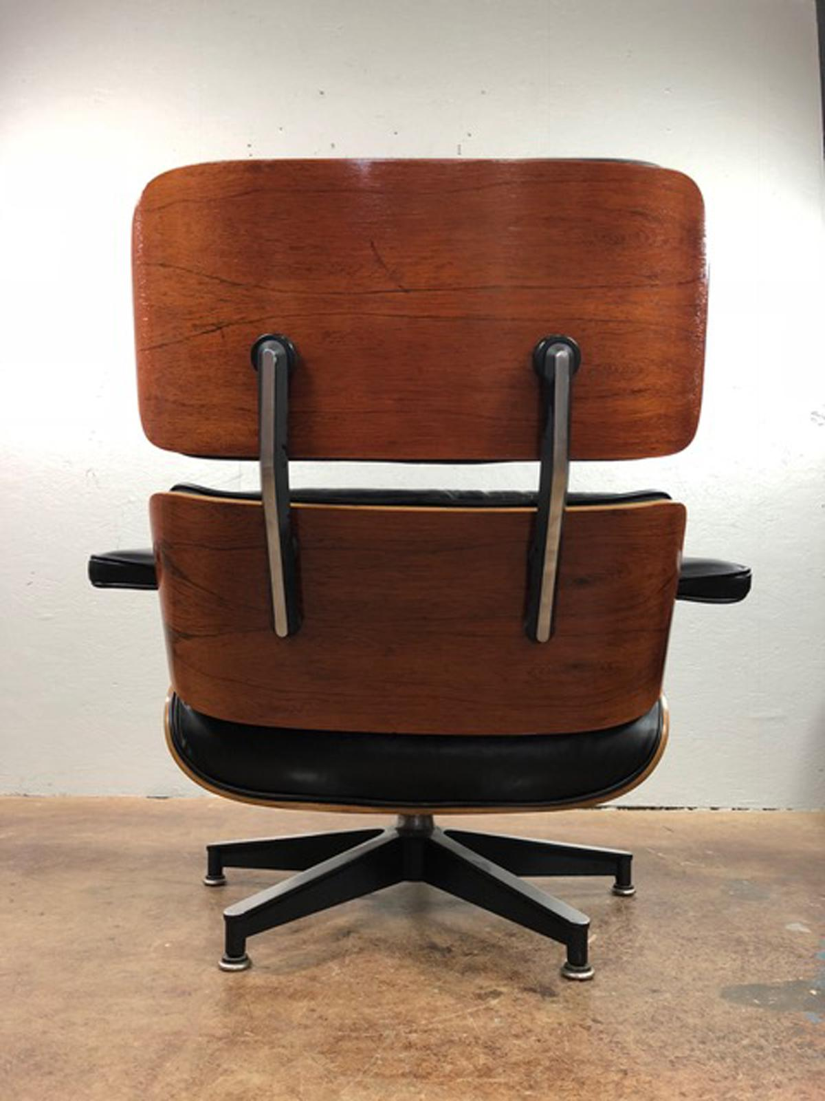 Mid Century Modern Early Charles U0026 Ray Eames Black Leather Walnut Lounge  Chair And Ottoman