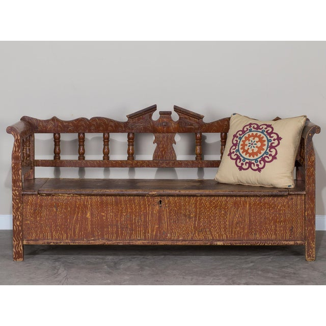 Rustic Hungarian Romanian Antique Painted Pine Bench circa 1875 For Sale - Image 3 of 11