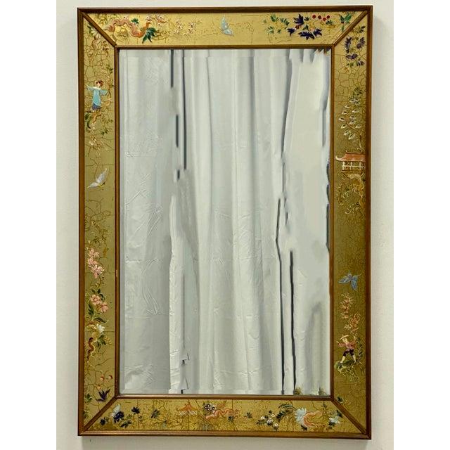La Barge La Barge Eglomise Chinoiserie Italian Mirror For Sale - Image 4 of 5