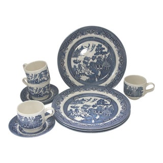 Blue Willow Churchill Transferware Plates, Cups & Saucers - Set of 12