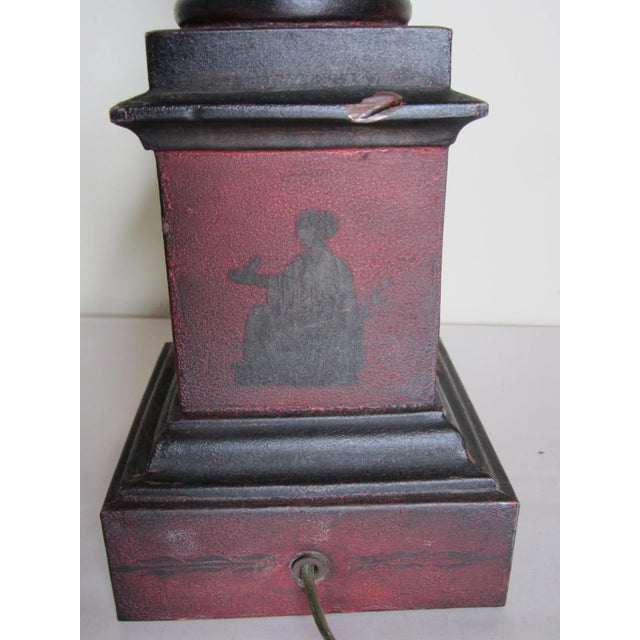 Vintage Tole Urn Lamp With Swan Handles - Image 10 of 10