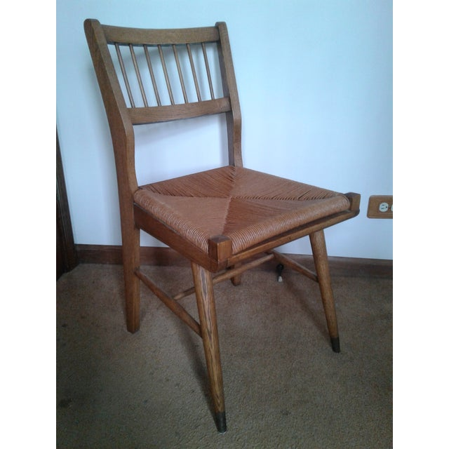 Mid-Century Modern Rush and Hardwood Side Chair For Sale - Image 12 of 12