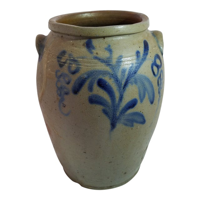 Antique 3 Gallon Stoneware Blue Decorative Glaze Mid-Atlantic Crock For Sale