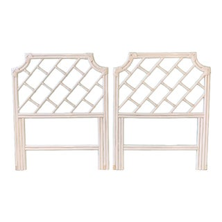 Pair of Rattan Chinese Chippendale Twin Headboards For Sale