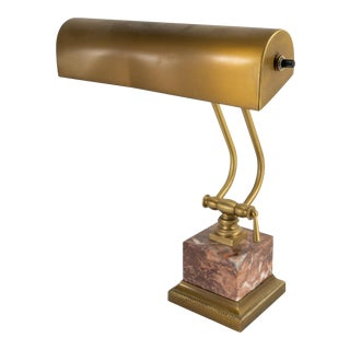 Late 20th Century Brass and Marble Table Banker Desk Lamp by House of Troy For Sale