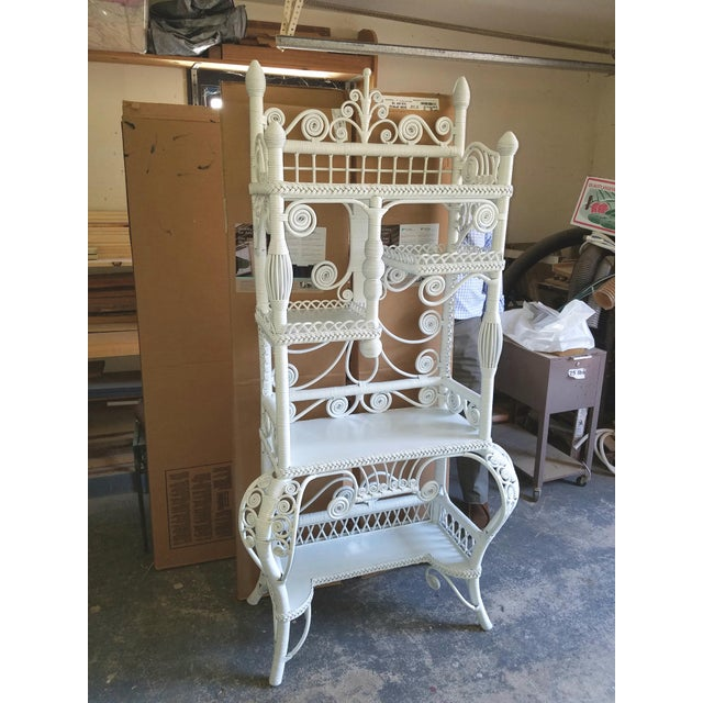 Victorian Style Large White Wicker Etagere For Sale In Philadelphia - Image 6 of 6