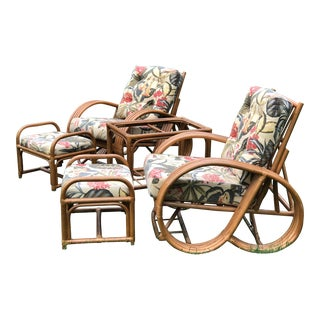 1970s Vintage Paul Frankl Rattan Pretzel Lounge Chairs- Set of 5 For Sale