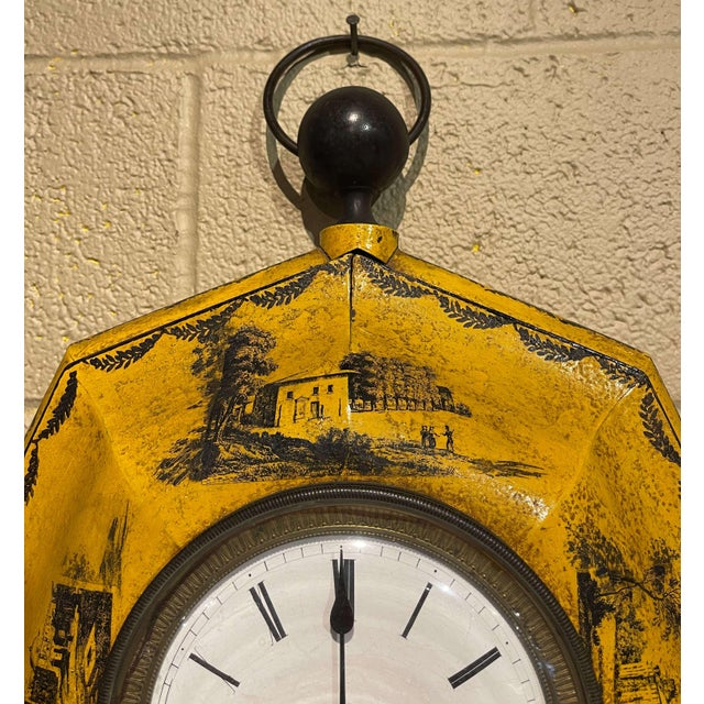 French 19th Century, French Napoleon III Painted Tole Wall Clock For Sale - Image 3 of 12