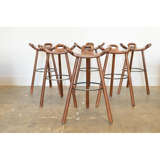 Spanish Brutalist Barstools, 1950's - Set of 7 For Sale In Phoenix - Image 6 of 6