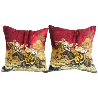Moroccan Silk Velvet Pillows With Arabs on Horse - a Pair For Sale