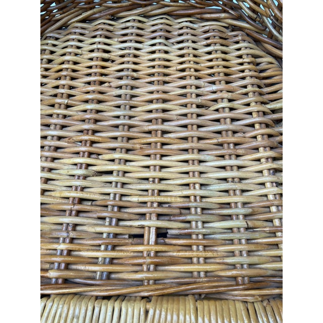 Vintage 1970's Crespi Style Woven Rattan and Bamboo Bar Stools - a Pair For Sale - Image 11 of 13