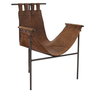 Iron and Saddle Leather Sling Chair For Sale