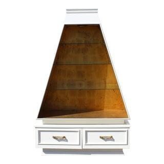 Vintage Mid-Century Modern White Obelisk China Cabinet For Sale