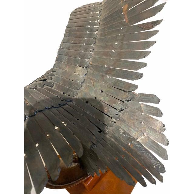1960s Vintage Artisan Mid-Century Welded Metal Sculpture Flying Eagle For Sale - Image 5 of 9