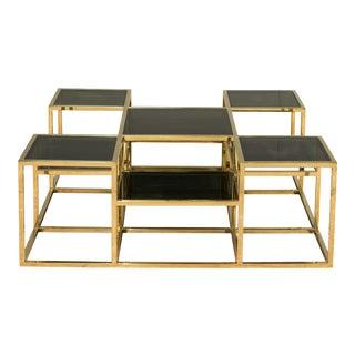Sarreid Ltd. Taylor Gold Iron & Black Glass Top Coffee Table For Sale