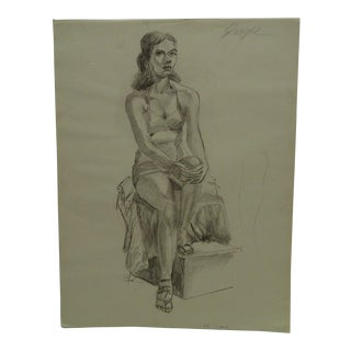 "Tom Sturges Jr. 1950 ""Posing in Lingerie"" Original Drawing on Paper For Sale"
