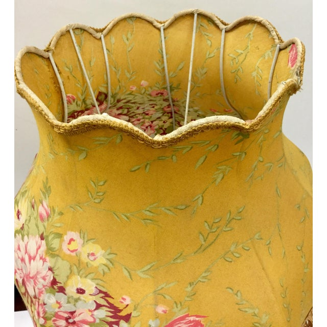 Vintage Glass Table Lamp With Antique French Lampshade For Sale In Boston - Image 6 of 13